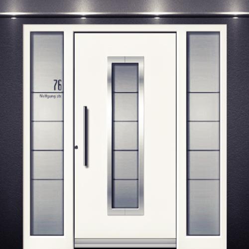 Porte d 39 entr e bois massif bois alu prestige design - Montage porte d entree ...